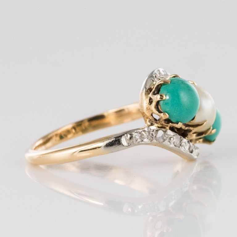 Antique French Turquoise Natural Pearl Diamond Gold Ring For Sale 7