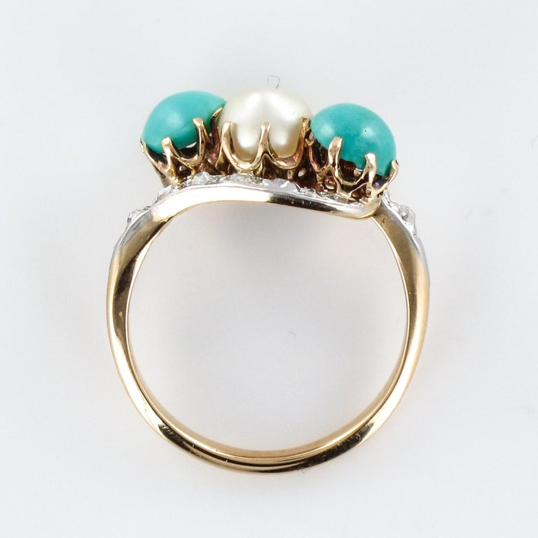 Antique French Turquoise Natural Pearl Diamond Gold Ring For Sale 8