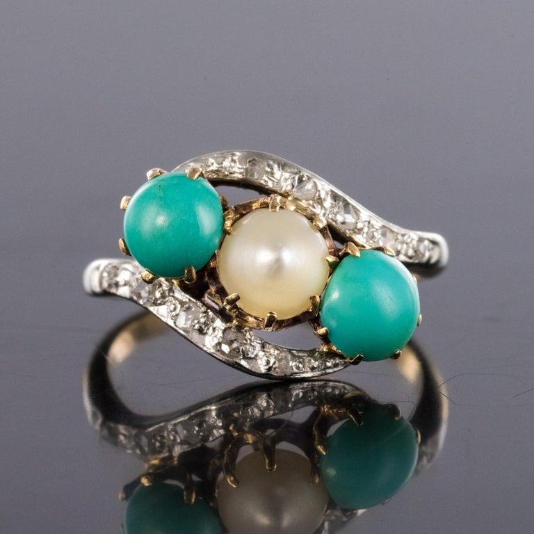 Napoleon III Antique French Turquoise Natural Pearl Diamond Gold Ring For Sale