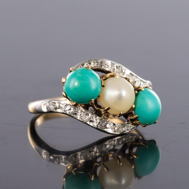 Antique French Turquoise Natural Pearl Diamond Gold Ring In Good Condition For Sale In Poitiers, FR