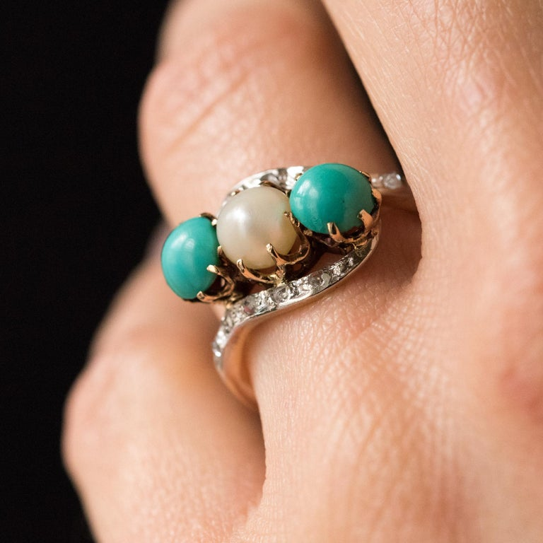 Women's Antique French Turquoise Natural Pearl Diamond Gold Ring For Sale