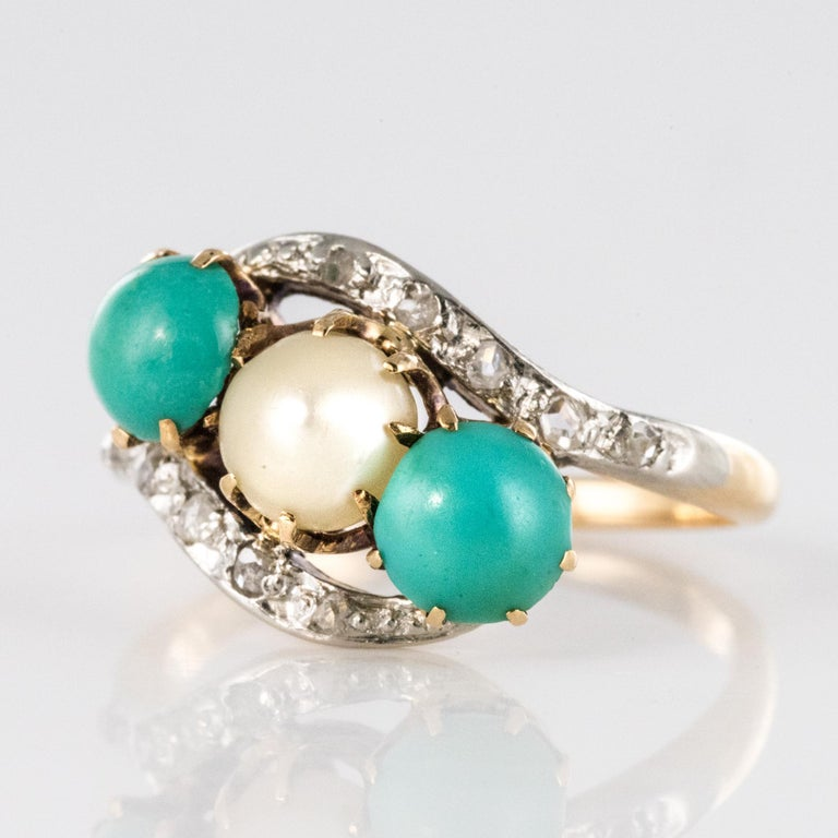 Antique French Turquoise Natural Pearl Diamond Gold Ring For Sale 2