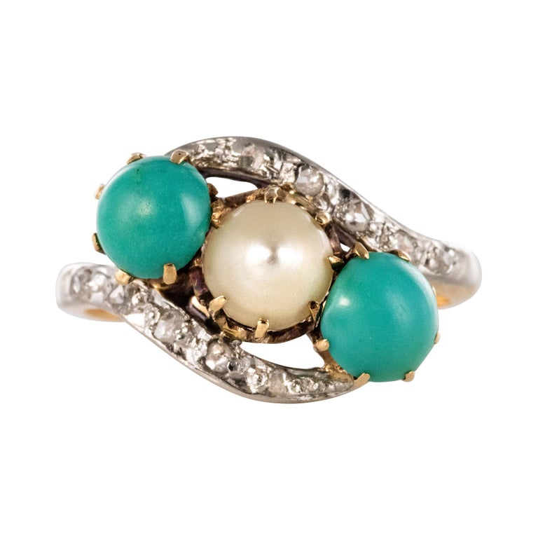 Antique French Turquoise Natural Pearl Diamond Gold Ring For Sale