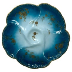 Antique French Turquoise & Peacock Blue Limoges Porcelain Oyster Plate, Ca. 1890