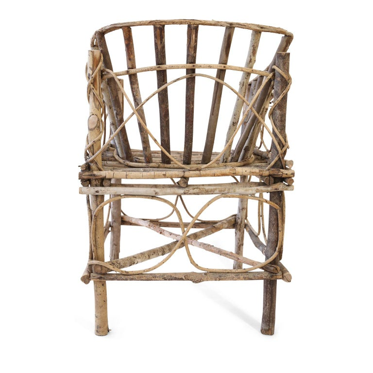 Folk Art Antique French Twig Chair For Sale