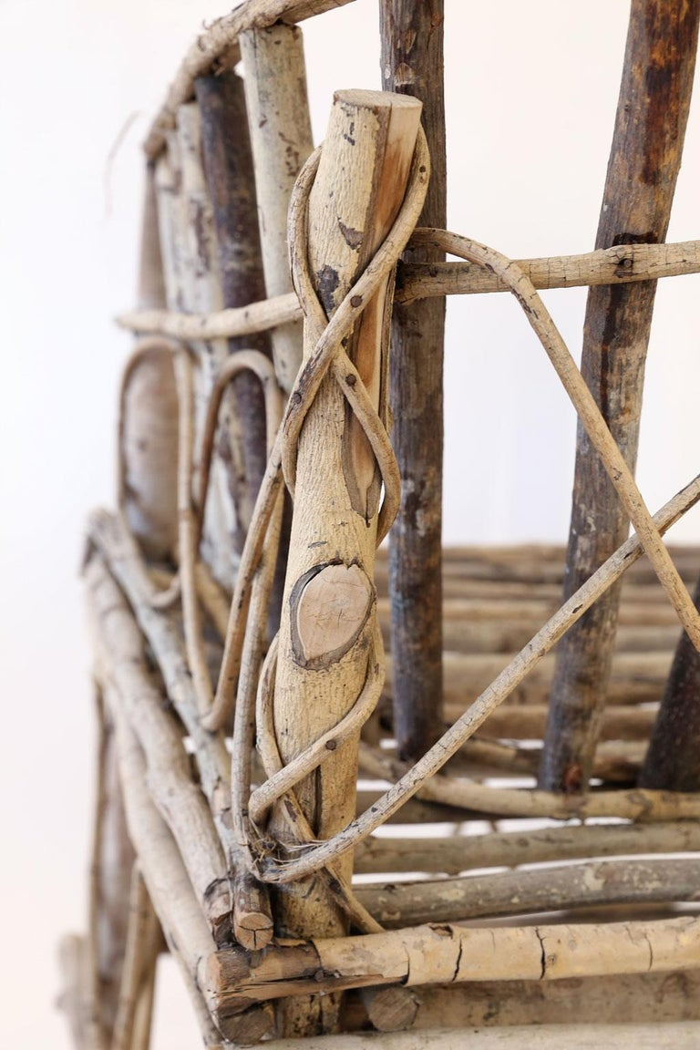 Hand-Crafted Antique French Twig Chair For Sale