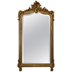 Antique French Two-Tone Gold Leaf Mirror with Original Beveling, circa 1880