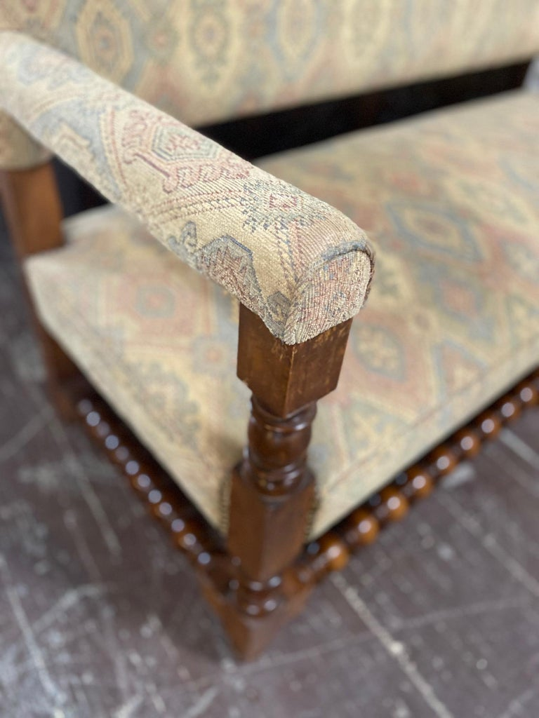 Antique French Upholstered Bench In Good Condition For Sale In Dallas, TX