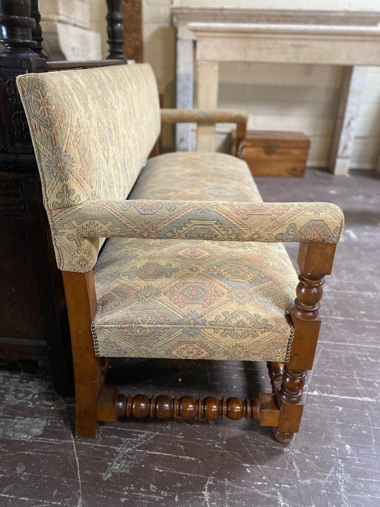 19th Century Antique French Upholstered Bench For Sale
