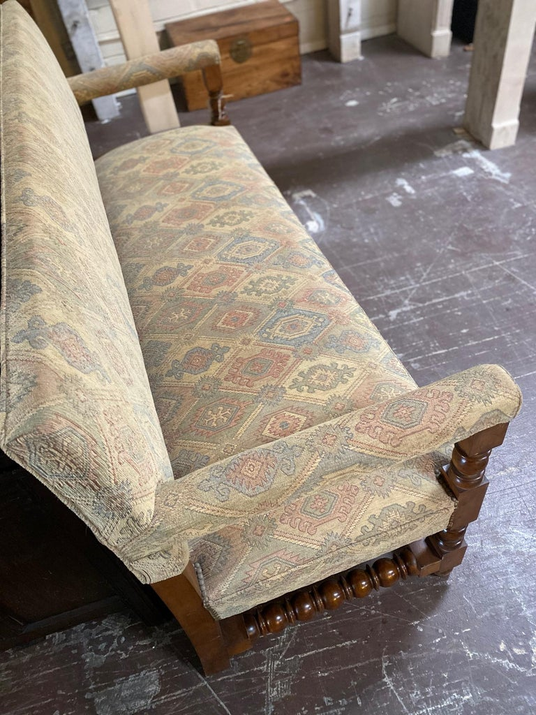 Wood Antique French Upholstered Bench For Sale
