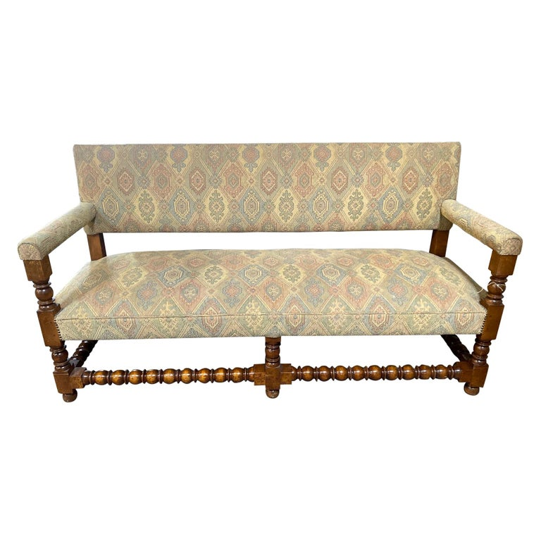 Antique French Upholstered Bench For Sale