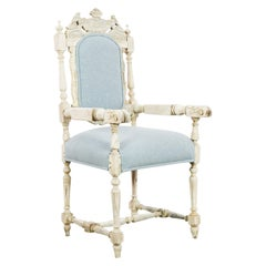 Antique French Upholstered Pale Blue Oak Armchair