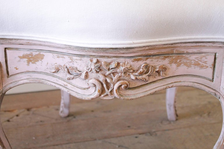 Louis XV Antique French Vanity Chair Painted in a Pale Pink and White  Belgian Linen For - Antique French Vanity Chair Painted In A Pale Pink And White Belgian