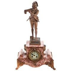 Antique French Variegated Rouge Mantle Clock