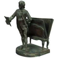 Antique French Verdigris Bronze Figural by Rd. Rivex, Artist & Portfolio