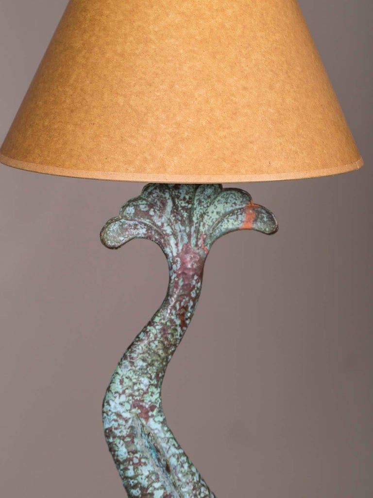 Hammered Antique French Verdigris Copper Dolphin Waterspout Custom Lamp, circa 1895 For Sale