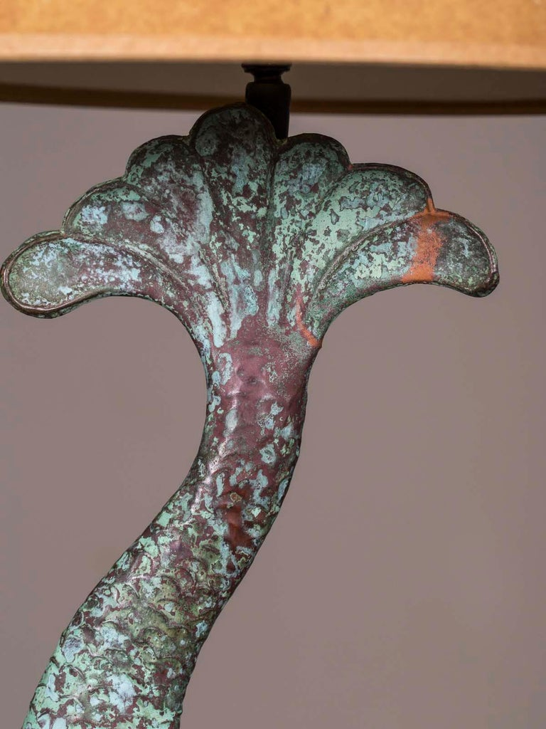 19th Century Antique French Verdigris Copper Dolphin Waterspout Custom Lamp, circa 1895 For Sale