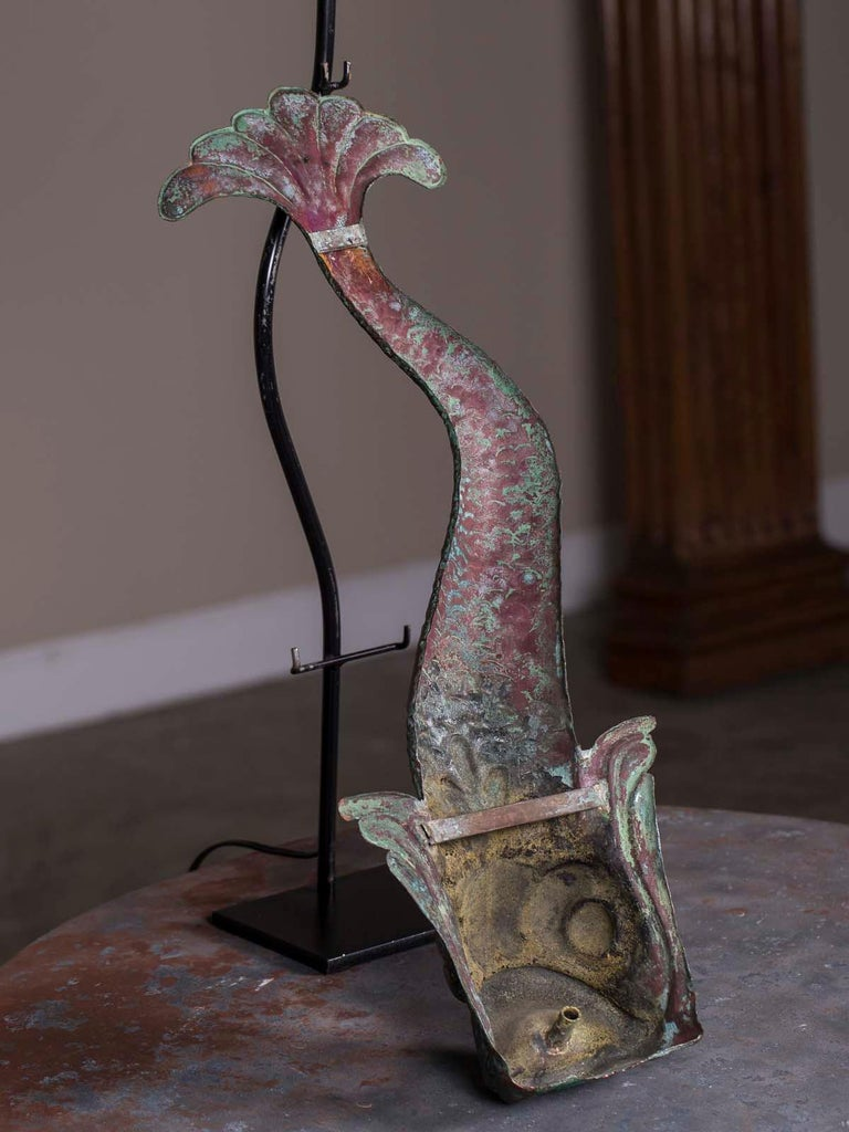 Antique French Verdigris Copper Dolphin Waterspout Custom Lamp, circa 1895 For Sale 3