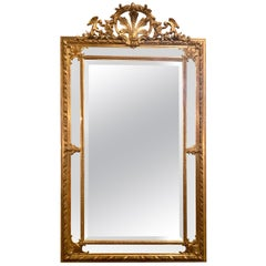 Antique French Very Fine Quality Gold-Leaf Beveled Mirror, circa 1865-1885