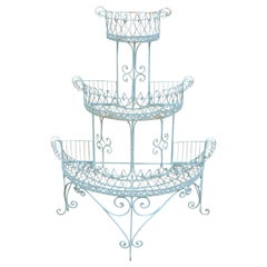 Antique French Victorian 3-Tier Blue Iron Wire Metal Planter Plant Stand