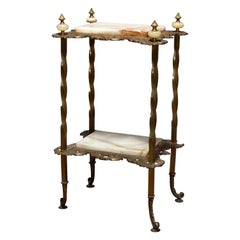 Antique French Victorian Bronze and Onyx Fern Stand, circa 1880