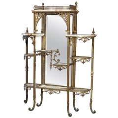 Antique French Victorian Bronze and Onyx Mirrored Étagère, circa 1880