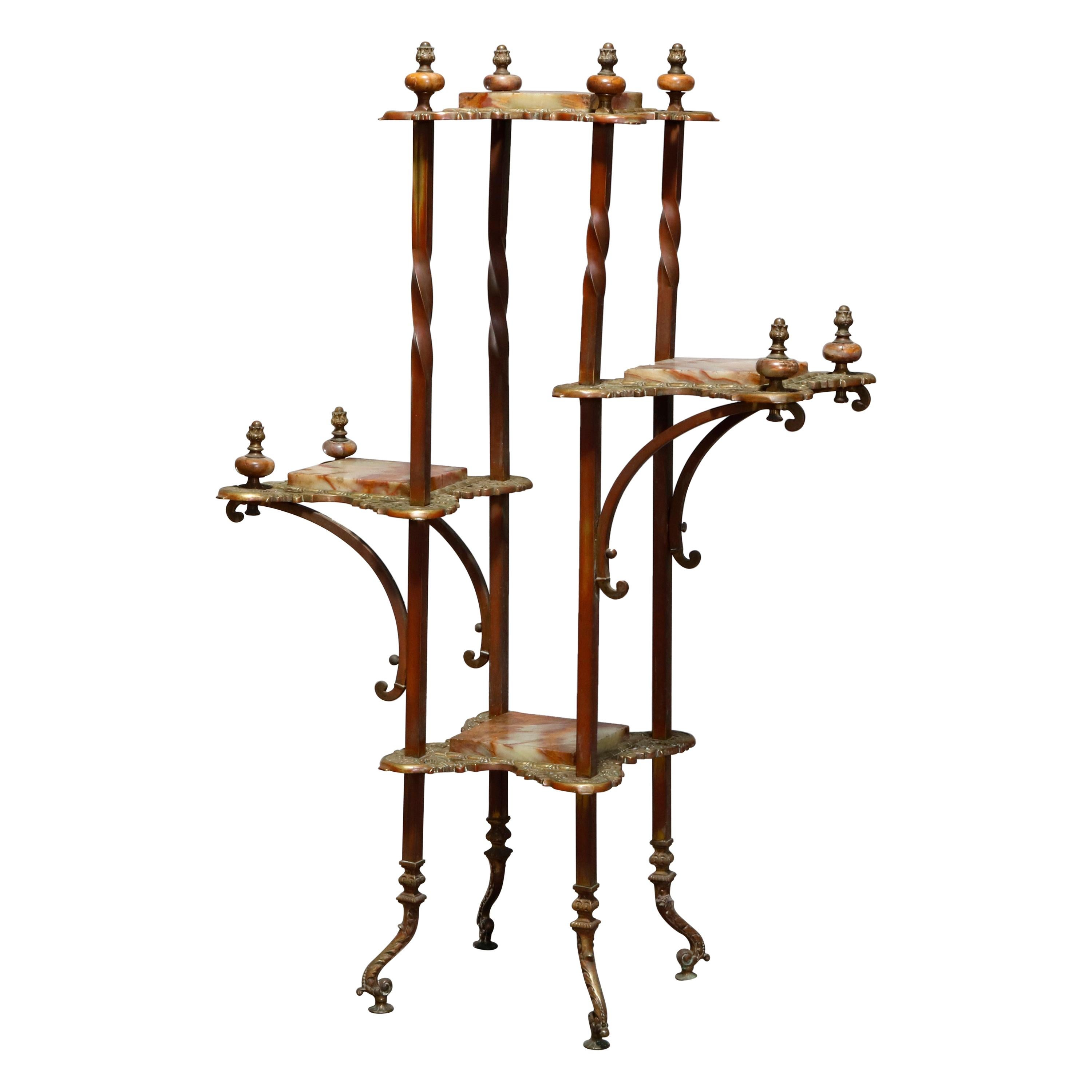 Antique French Victorian Bronze and Onyx Tiered Étagère, circa 1880