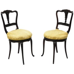 Antique French Victorian Carved Rosewood Small Petite Accent Side Chairs, Pair