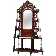 Antique French Victorian Carved Walnut & Marble Top Mirrored Étagère, circa 1890