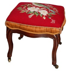 Antique French Victorian Carved Walnut Needlepoint Foot Stool, circa 1870