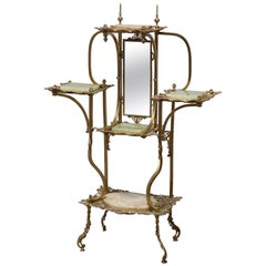 Antique French Victorian Cast Bronze & Onyx Tiered & Mirrored Etagere, c1880