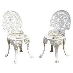Antique French Victorian Cast Iron Foliate Leaf Pattern White Garden Chair, Pair