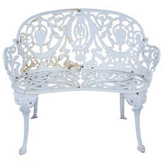 Antique French Victorian Cast Iron Patio Bench Settee Love Seat Garden Bistro 37