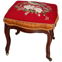 Antique French Victorian Fruitwood & Needlepoint Footstool with Bird, circa 1870