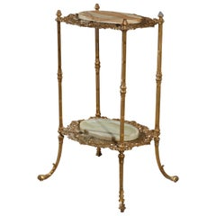 Antique French Victorian Gilt Bronze and Onyx Fern Display Stand, circa 1890