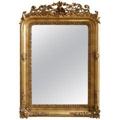 Antique French Victorian Giltwood Over Mantel Mirror, circa 1880