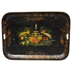 Antique French Victorian Hand Painted Birds Tole Metal Toleware Tray