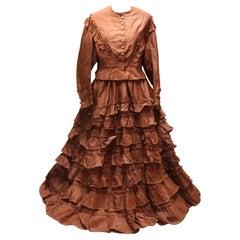 Antique French Victorian Ladies Day Dress by Bespaigne, Paris, c1880