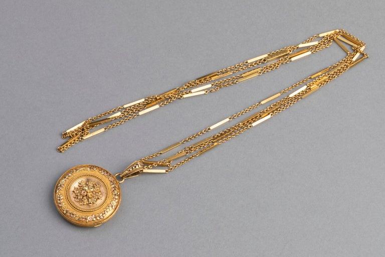 Antike französische viktorianische Medaillon Halskette 2