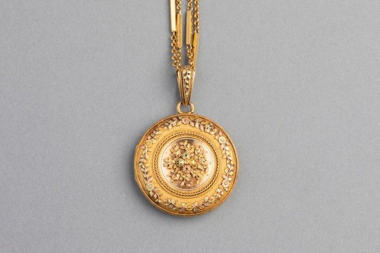 Antike französische viktorianische Medaillon Halskette 3