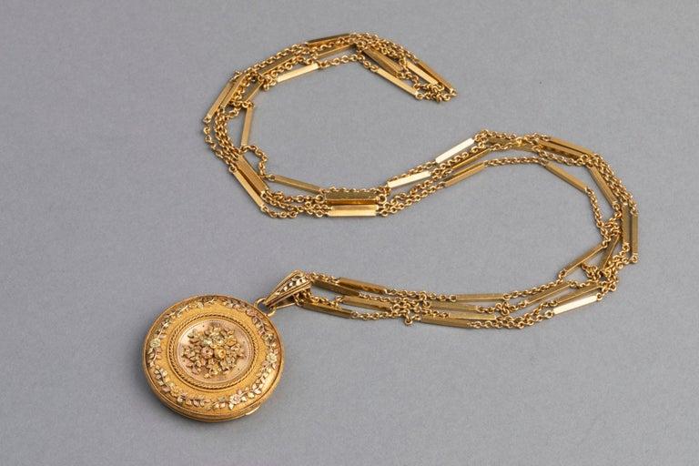 Antike französische viktorianische Medaillon Halskette 4