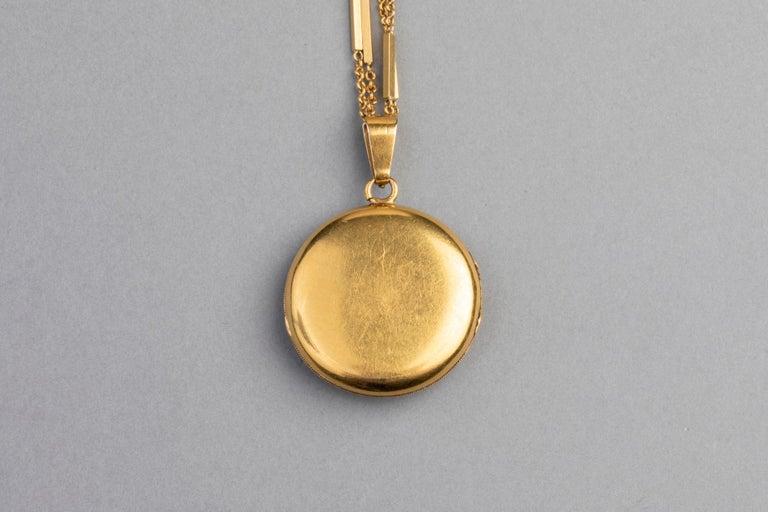 Antike französische viktorianische Medaillon Halskette 5