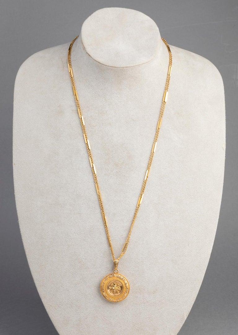 Antike französische viktorianische Medaillon Halskette 6