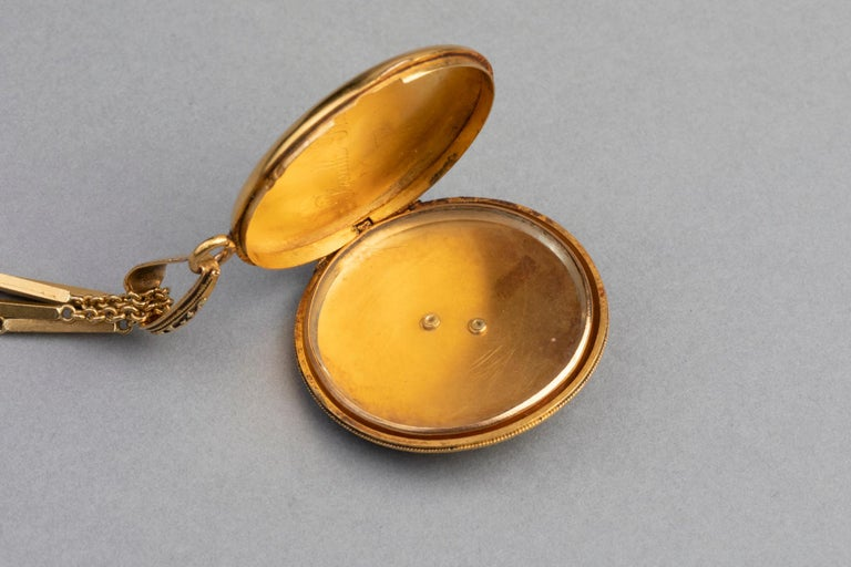 Antike französische viktorianische Medaillon Halskette 7