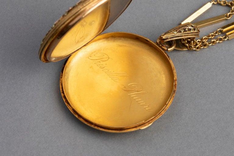 Antike französische viktorianische Medaillon Halskette 8