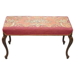 Antique French Victorian Pink Floral Needlepoint Mahogany Cabriole Leg Bench