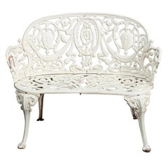 Antique French Victorian White Painted Cast Iron Cameo Garden Bench, circa 1890