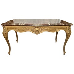 Antique French Violet Marble Gold Leaf Center Table