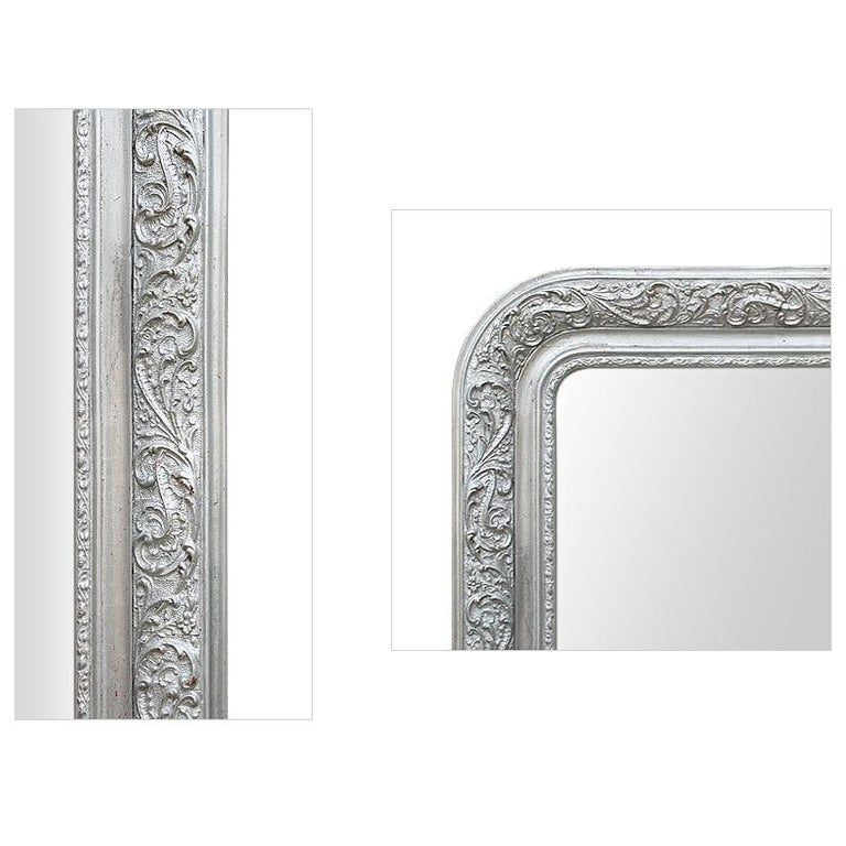 Louis Philippe Antique French Wall Mirror, Louis-Philippe Style Silvered Mirror, circa 1900 For Sale