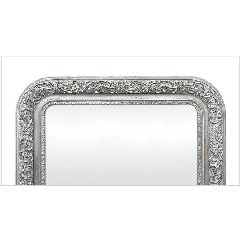 Gilt Antique French Wall Mirror, Louis-Philippe Style Silvered Mirror, circa 1900 For Sale